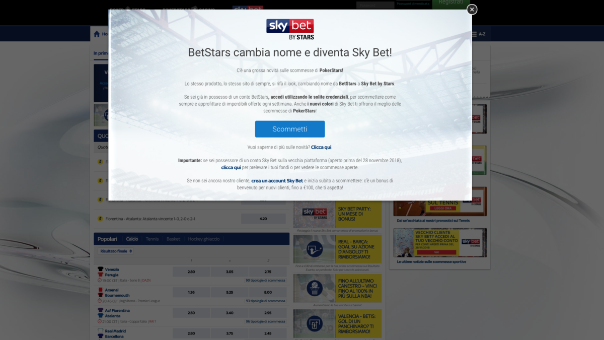 Stars group acquista Skybet